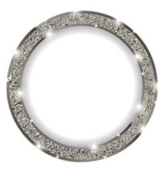 Round silver frame with lights on light background vector