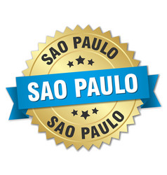 Sao paulo round golden badge with blue ribbon vector
