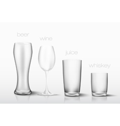 set of glasses for drinks vector image