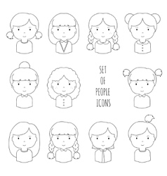 Set of line female faces icons Funny cartoon hand vector image vector image