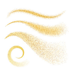 Sparkle stardust golden glittering waves vector