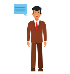standing businessman with speech cartoon flat vector image vector image