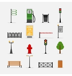 Street element icons vector