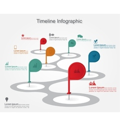 Timeline infographics with elements icons vector image vector image