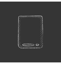 Touch screen tablet drawn in chalk icon vector