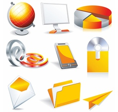 web business office icons vector image