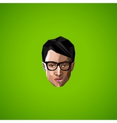 with an asian guy face with glasses in polygonal vector image vector image