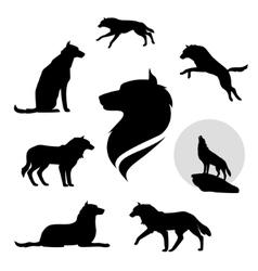 Wolf set vector image