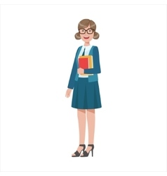 Woman School Teacher Holding Books Part Of Happy vector image vector image