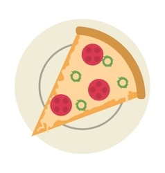 Pizza slice on plate icon vector