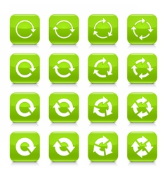 Green arrow repeat sign square icon web button vector