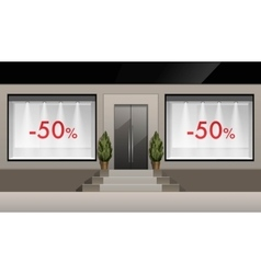 Shop building with glass showcase discounts vector