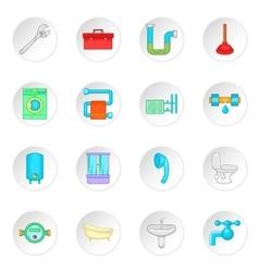 Bathroom icons set cartoon style vector image
