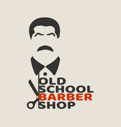 Vintage barber shop emblem or label vector