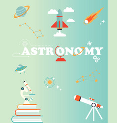 Space poster with set of icons rocket planet vector