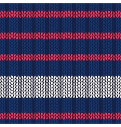 Seamless knitted pattern with red white stripes vector