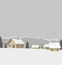 Winter mountain village vector