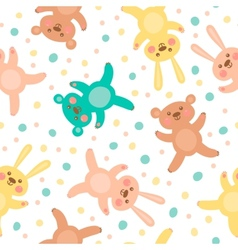 Kids seamless pattern with cute bears and hares vector