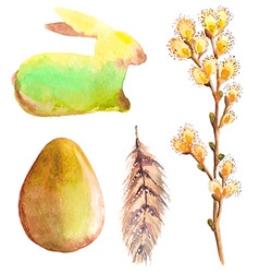 Easter watercolor collection with rabbit egg vector image
