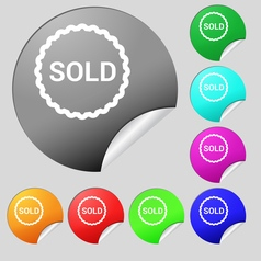 Sold icon sign set of eight multi colored round vector