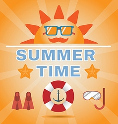 Summer time orange banner vector