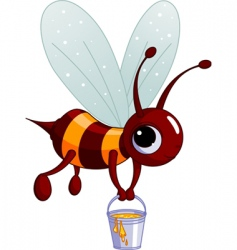 bee holding a honey bucket vector image
