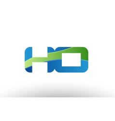 Blue green ho h o alphabet letter logo vector