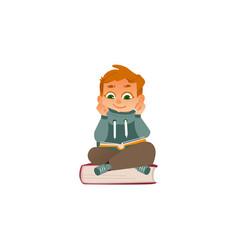 cartoon boy reading sitting at big book vector image