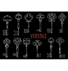 Chalk sketched antique skeleton keys on chalkboard vector image vector image