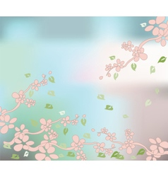 Cherry flowers background vector