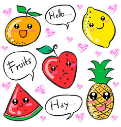 colorful fruit cartoon doodle style vector image vector image