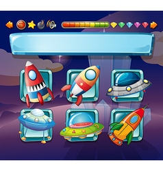 Computer game template with spaceships vector