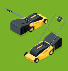 Electric yellow lawn mower in summertime lawn vector