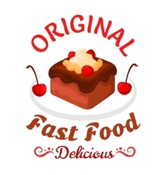 Fast food sweet treats icon with chocolate cake vector image
