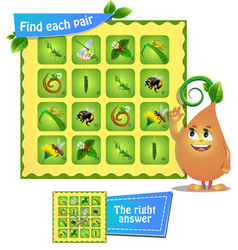 game insects find each pair vector image