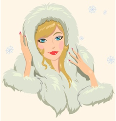girl in furs vector image vector image