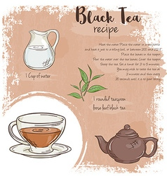 Hand drawn of black tea recipe with list of vector