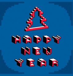 Happy new year phrase created in digital vector