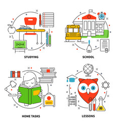 linear education icons set vector image