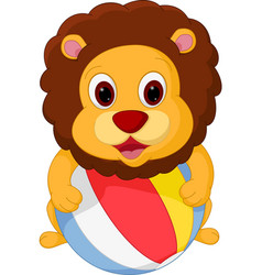 Lion cartoon playing ball vector