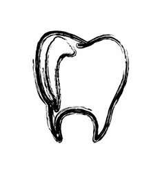 monochrome hand drawn sketch of tooth vector image vector image