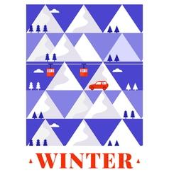 Mountain winter card vector