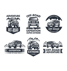 Off road symbols labels with 4x4 truck logos or vector