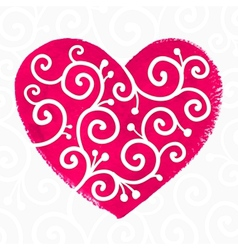Pink painted heart with white ornament vector image