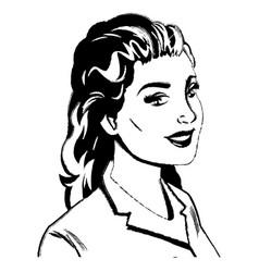 portrait woman pop art sketch vector image