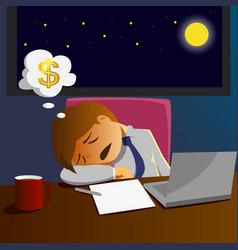 salary man working overtime and sleep on desk vector image vector image
