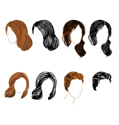 Set long and short hair natural and silhouette vector image