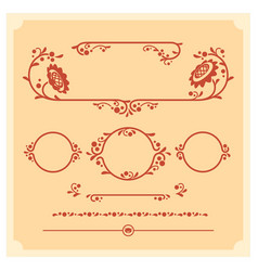 Set of decorative floral elements for vector