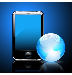 smart phone and globe vector image vector image