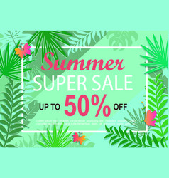 summer super sale jungle background vector image